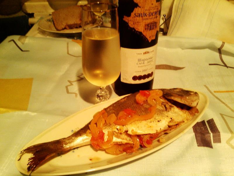 рыба с вином